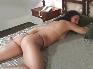 Black haired Latin girl receives both holes fucked