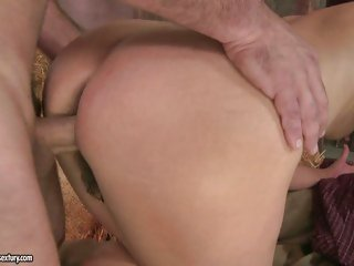 Ria's thick round ass receives bent over as she's permeated from behind