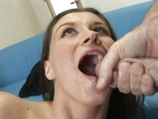 Tantalizing Sara Stone gets a face hole full off warm spunk