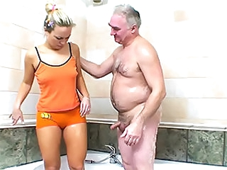 Hot Blonde Sucks and Fucks an Older Man's Small Penis