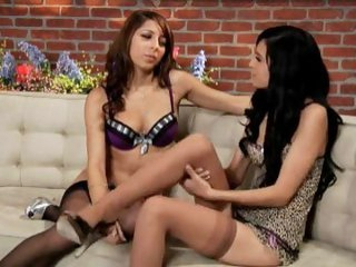 Lingerie lesbians strip to stockings for sex