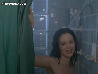 Brunette hair Rose McGowan Invites a Guy To Shower with Her
