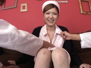 Kinky Nurse Riana Natsukawa Gets Fucked and Creampied in a Threesome