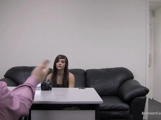 Kaylie on Backroom Casting Couch rubbing her fur pie