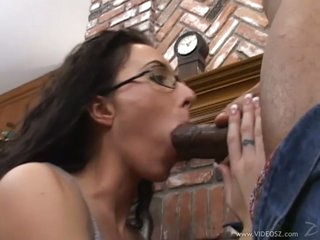 Darksome dick lover Katrina Isis gags on a huge fuck stick