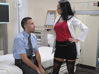Big-tit brunette bitch doctor Ava Addams rides patient's dick anal