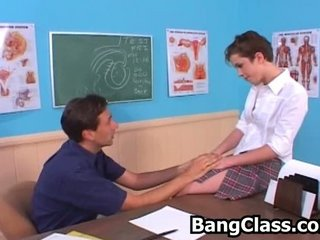 Shy legal age teenager girl seduced by the teacher