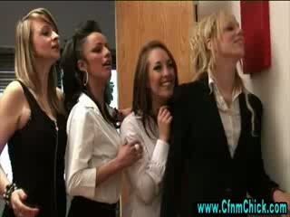 Dirty cfnm schoolgirls receive sexy