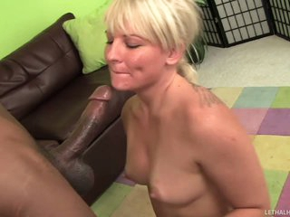 Bikini blonde Casey Cums demonstrates her naughty parts at the poolside before this babe gets down on her knee in front of well hung skinny black guy to give blowjob. She sucks his chocolate cock passionately.