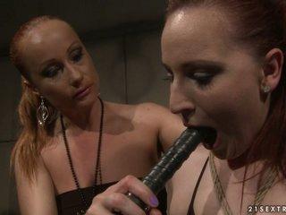 Katy Borman got tortured with black dildo