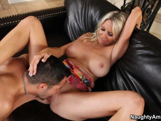 Emma Starr rides her cougar pussy on a lucky fucker