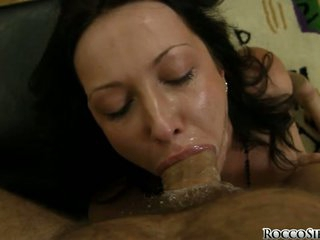 Hard cocked Rocco Siffredi forces his manhood on a lucky whores simmering mouth