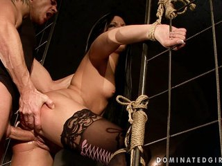 Darksome haired girl gets bound and butt fucked by a violating cock