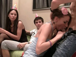 These lascivious students suck dick at a birthday party