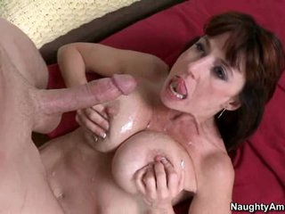 Karen Kougar filled with cum on her busty boobs