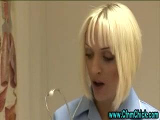 Busty cfnm nurse gets naughty