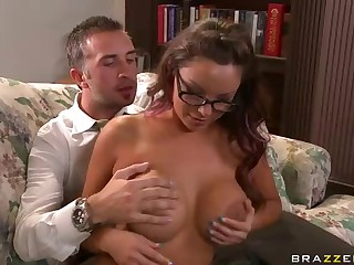 Keiran Lee's pocket rocket in his pants is willing for explosion when he puts his hands on huge bare zeppelins of fascinating four-eyed teacher Danni Cole. They are alone and nothing can stop him from fucking her dream pussy.