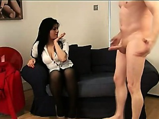 Stockinged cfnm slut teases