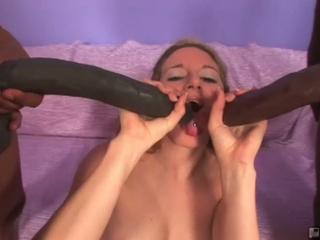 Brave blonde jade lashey takes on 2 monster cocks