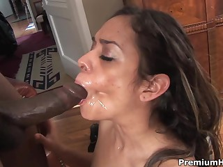 Nasty latina Estella Leon takes black pecker