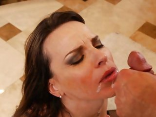 Dana DeArmond gets her face sprayed with hot cum