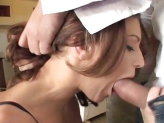 Hottie Jackie Moore gets her slippery throat slammed