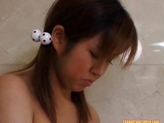 Asian teen masturbating