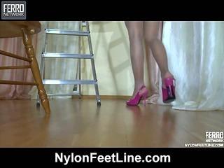 Margo showing her nylon feet