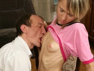 Sexy golden-haired schoolgirl acquires her merry titties shaking with pleasure being fucked by teacher.