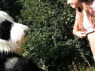 Oh no, somebody caught this breasty teenage in the forest, fastened her up and left her all alone like that. Who knows what could have happen to the poor thing, but suddenly a large panda bear appeared and rescued the pretty gal. A hero merits some award, right? Smth like a fun fuck would be just consummate, especially if the panda's horny as hell. His huge ding-dong marital-device made the gal aroused too, and that babe got down to engulf it. Then that babe let the panda gangbang her with that brutal sex toy. Oh, this hot sex play ...