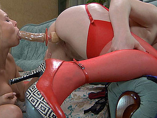 Red hawt mommy joins a horny blond angel for lez wet crack licking and toy play