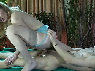 Excitement-driven hottie in barely there nylons getting boned on a pool table