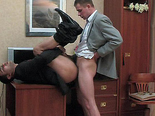 Kinky co-worker and his gay boss having dong-break after hard working day