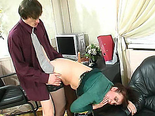 Freaky older chick teasing her co-worker with mellow muff hungry for jock