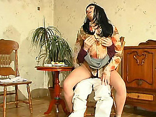 Kinky mother i'd like to fuck tricking younger waiter into cowgirl riding on his rocky pecker