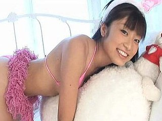 Yua Ryouke a pretty Oriental legal age teenager in bikinis and underware doing sexy poses.