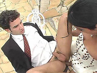 Hawt shemale bride listening at her double nature fucking with guy outdoors