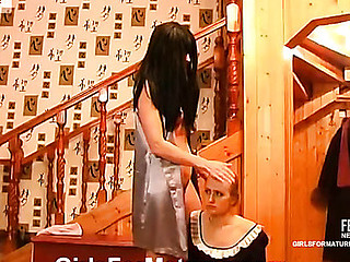 Cute French maid pulls up her petticoat serving her all sexed up older mistress