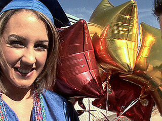 Straight out of school graduation, eighteen year old Bella was excited to party! When we gave her balloons that babe asked for a hard dong instead! This incredible blond with merry large whoppers and firm a-hole was excited to lastly be able to break in freshly graduated virginity! Bella has an amazing way of showing off how thrilling it was to party!