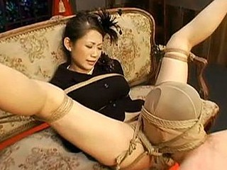 This is part 1 of a two part slavery movie starring Maki Tomoda. Watch this sexy JAV model fastened up with a constricted rope and humiliated during the time that immobilized. Watch her hung upside down during the time that her corporalist make sweet love and chastise her painfully.