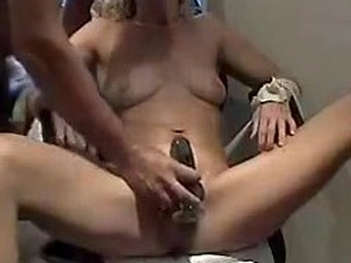 The vibrating dildo can have a lot of different purposes and doesn't just have to be used on the pussy. Dude uses is off label to massage her whole tight body and give her mouth a taste of her own cunt juice.