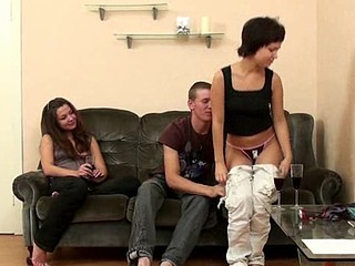 Two beautiful legal age teenager chicks share one dick of gracious dude