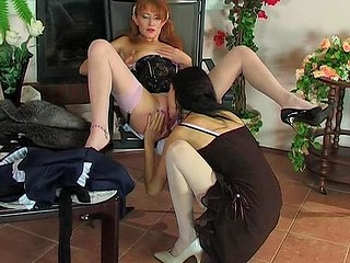 French maid changing into pink nylons launching into lesbo lickety-split