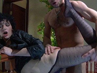 Funky gal gets her nyloned feet serviced by a guy lusting for her wet slit