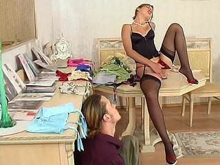 Sweetheart getting spied on during the time that trying on and enjoying the feel of recent hosiery