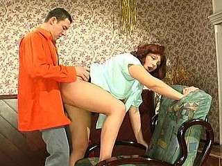 Plump older French maid ready for her fucking chores servicing guy
