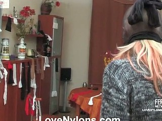 Caught red-handed curvy hottie in white nylons surrenders to hard coupling
