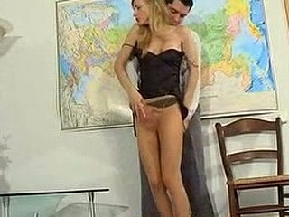 Cute coed in smooth hose revealing various fucking poses during lesson