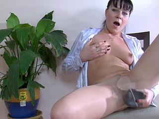 Horny chick ready to do anything with a vibrator into her smooth hose