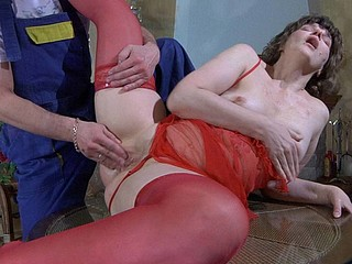 Fiery aged chick in red asks a handyman to explore her dripping crotch